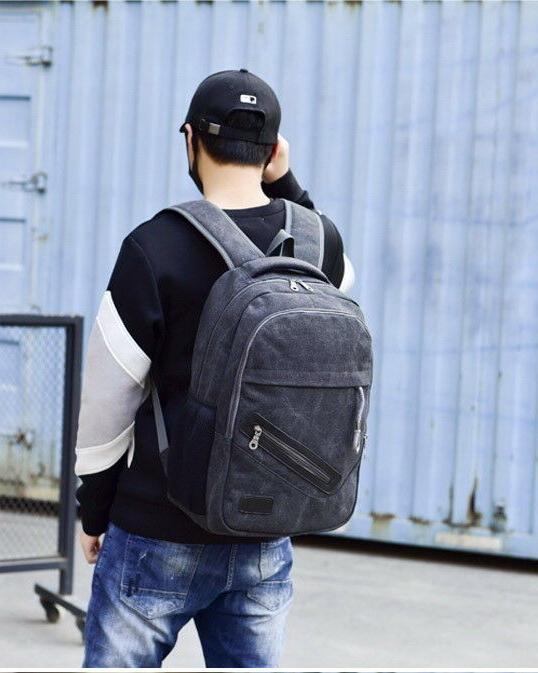 Men Women Canvas Rucksack Travel Student Schoolbag Book
