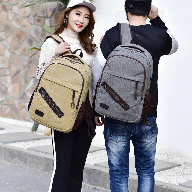 men women canvas backpack rucksack travel student