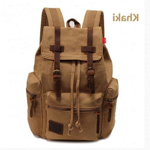 Men Canvas School Bookbag Laptop Backpack