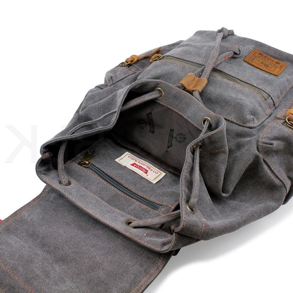 Men Women Army Canvas Backpack Rucksack Satchel Hiking Bag