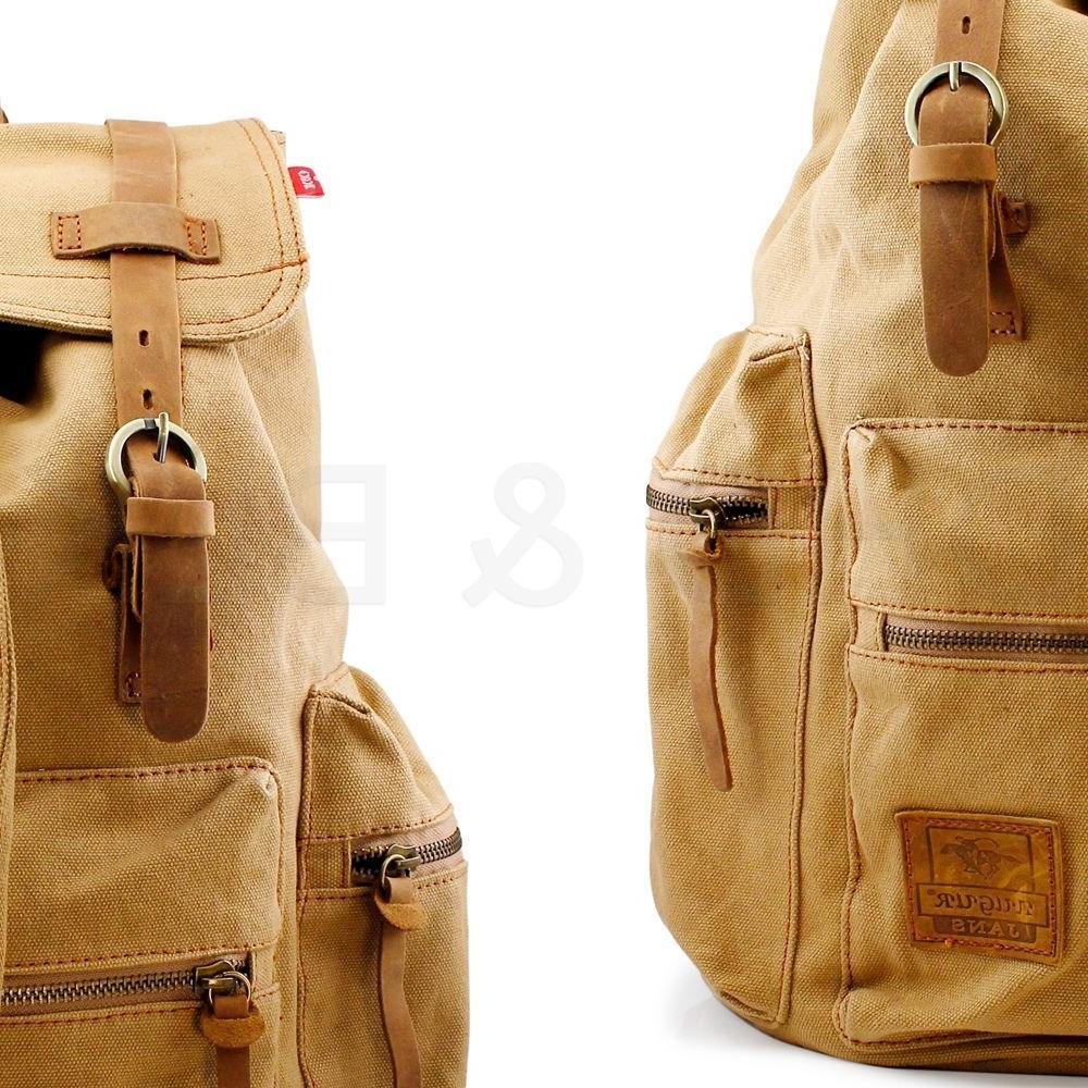 Men Vintage Canvas Backpack Satchel Travel Bag