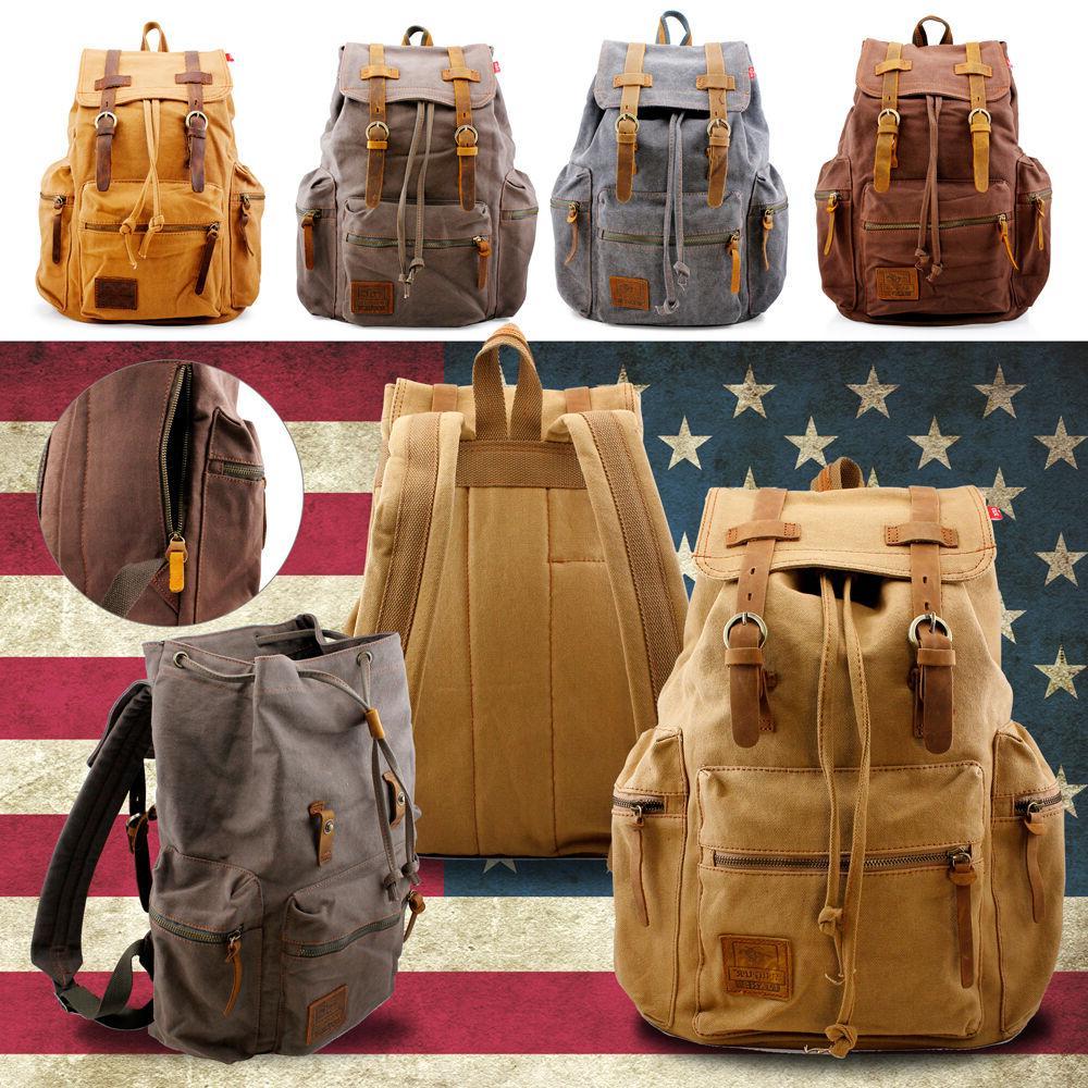men women vintage army canvas backpack rucksack