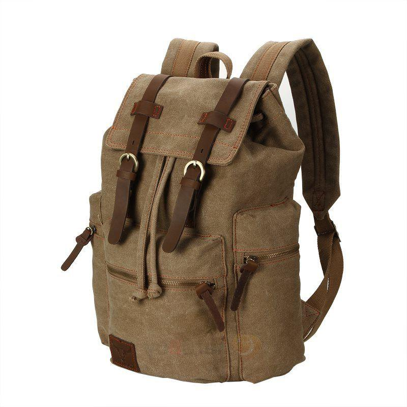 Men Women Vintage Canvas Backpack Satchel Travel
