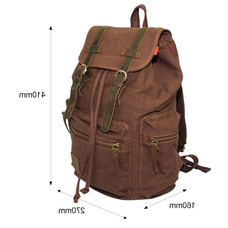 Men Canvas Backpack Rucksack Satchel