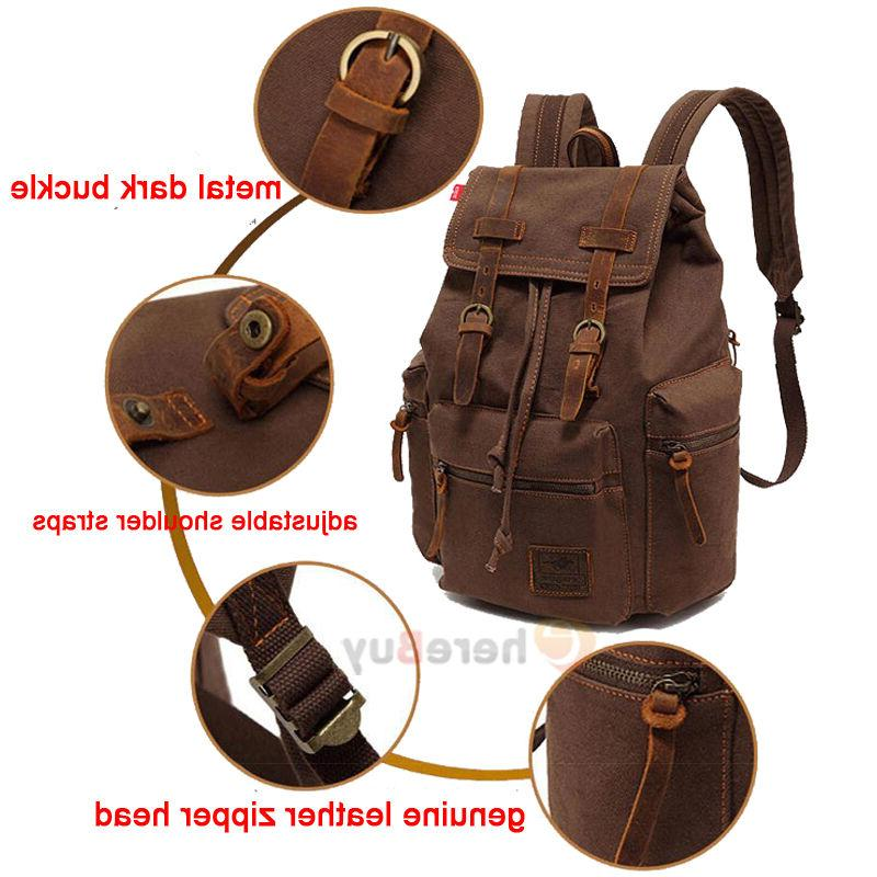 Men Canvas Backpack Rucksack School Satchel Hiking