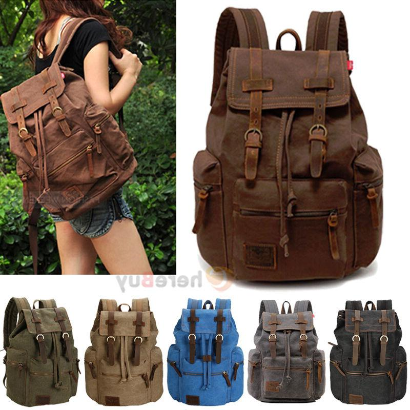 men women vintage army canvas backpack rucksack