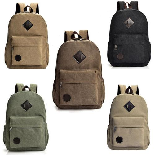 Men Women Vintage Canvas Backpack Rucksack School Satchel Tr