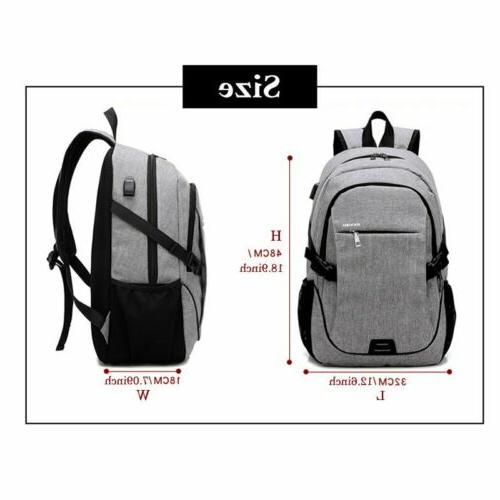 Mens Anti-Theft USB Travel Shoulder Notebook School Bag