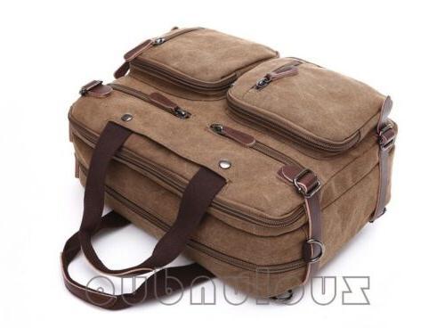 Mens Canvas Laptop Backpack Large Crossbody Bag