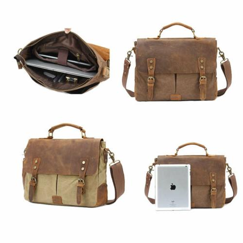 Mens Canvas Shoulder Laptop Business Bag