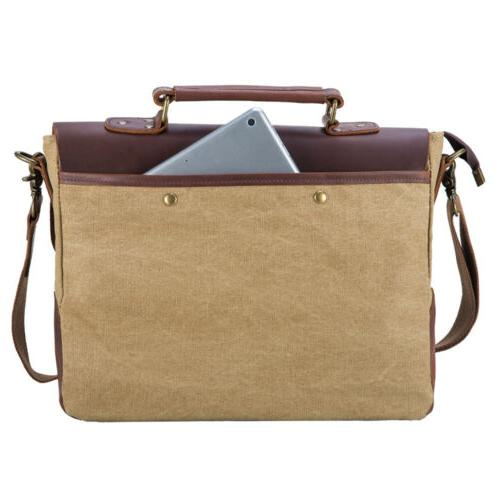Mens Canvas Leather Shoulder Laptop Business Bag