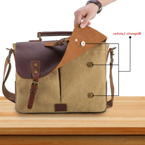 Mens Canvas Leather Laptop