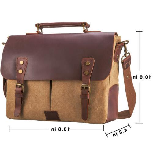 Mens Messenger Canvas Shoulder Laptop Bag