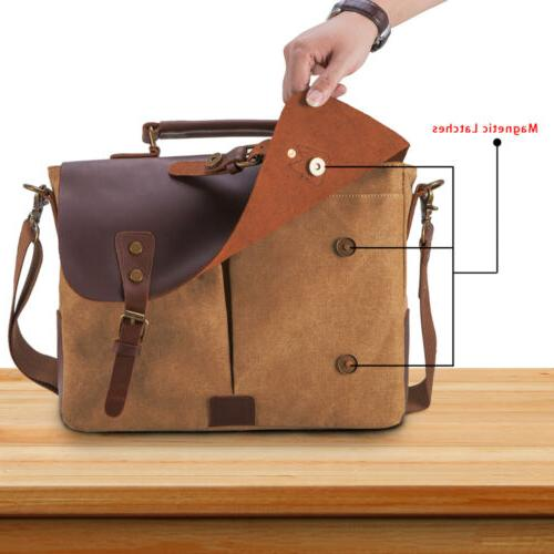 Mens Canvas Leather Shoulder Laptop Bag