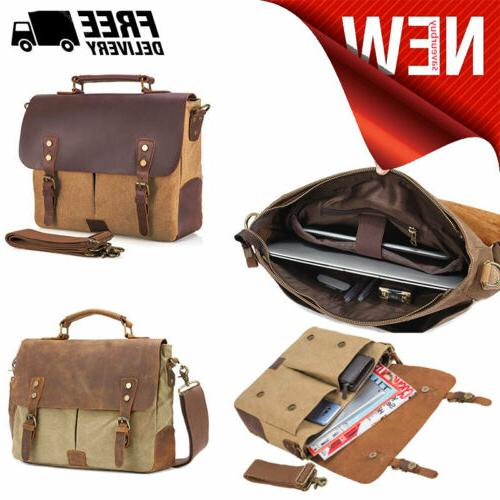 mens messenger bags vintage canvas leather shoulder