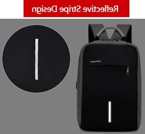 Mens Lock USB Charging Backpack Travel Bag