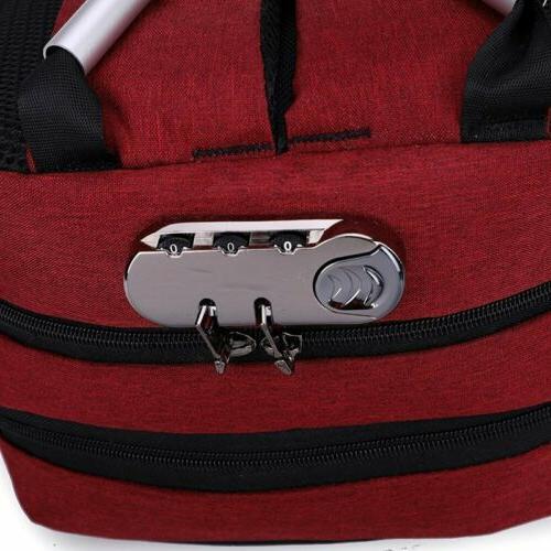 Mens Lock USB Charging Backpack Travel