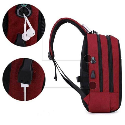 Mens Womens Anti-Theft Lock USB Charging Laptop Backpack School