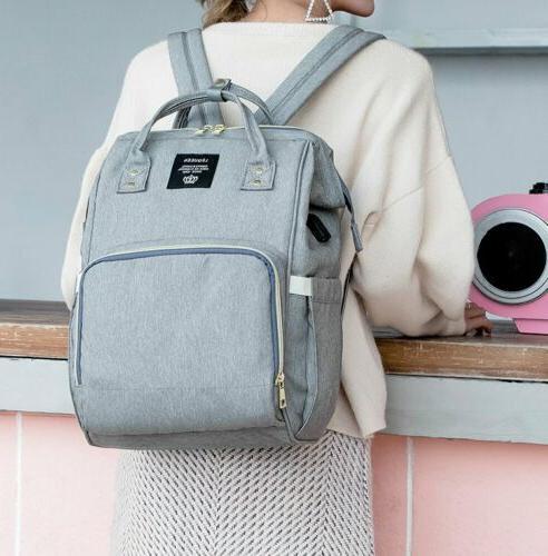 LEQUEEN Nappy Diaper Bag Mummy Nursing Backpack Port