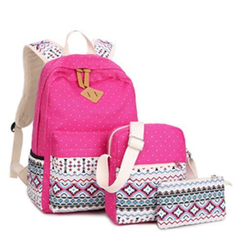 New 3pcs/Set Backpack Canvas Travel Bookbags School Bags for Teenage girls