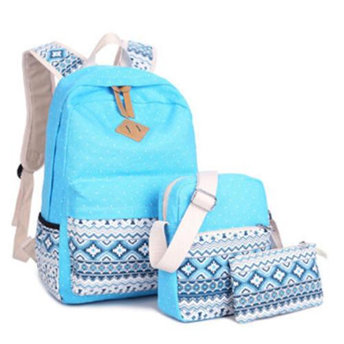 New 3pcs/Set Canvas Travel School Bags for Teenage