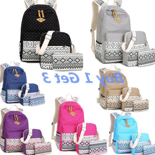 new 3pcs set backpack women canvas travel