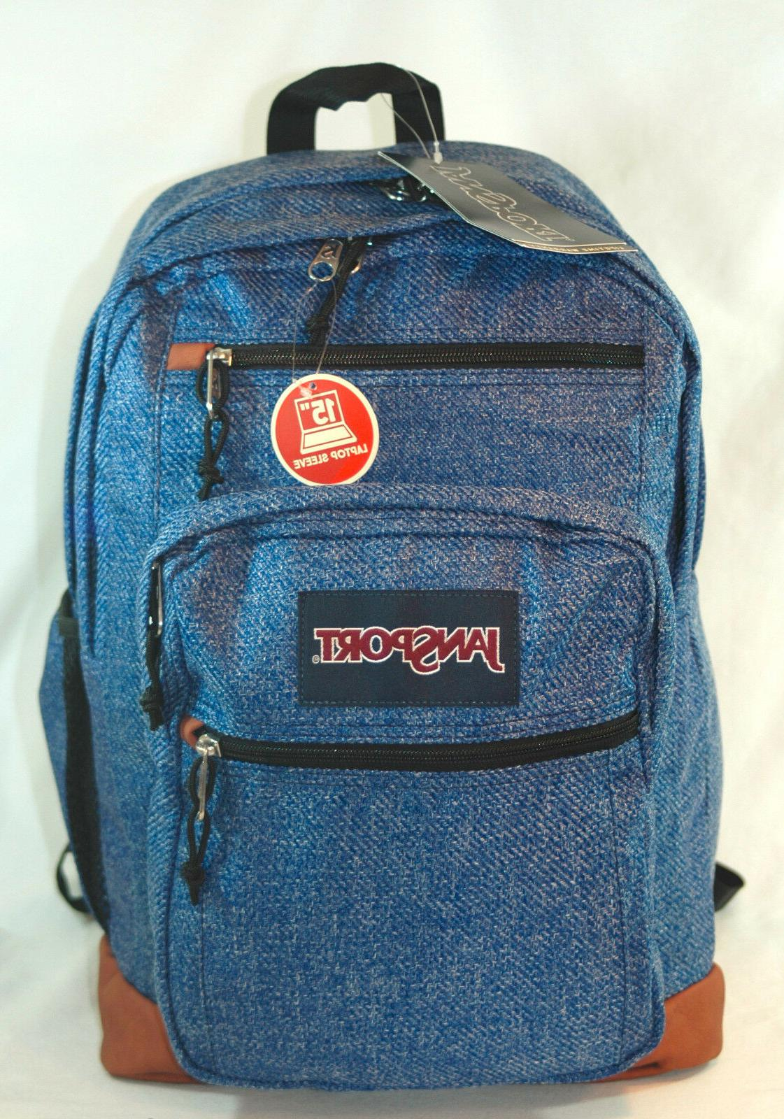 New JanSport Big Cool Student Laptop Backpack -- Blue Twill