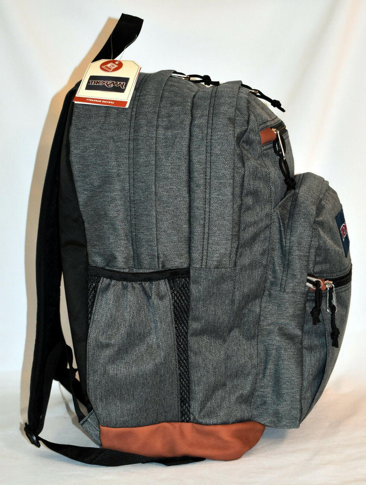New JanSport Laptop Backpack -- Black White Herringbone