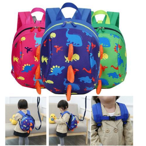 Kids Toddler Children Backpack Anti-lost Band Bag Dinosaur C