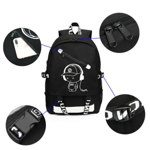 Night Luminous Laptop School Shoulder Bags With