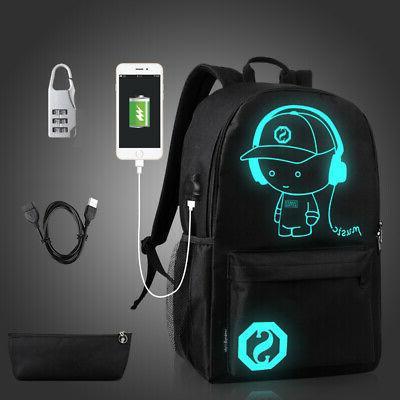 night luminous backpack anti theft laptop bag