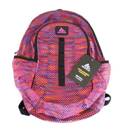 NWT Adidas Backpack Bag Hermosa Mesh School Rainbow Padded L