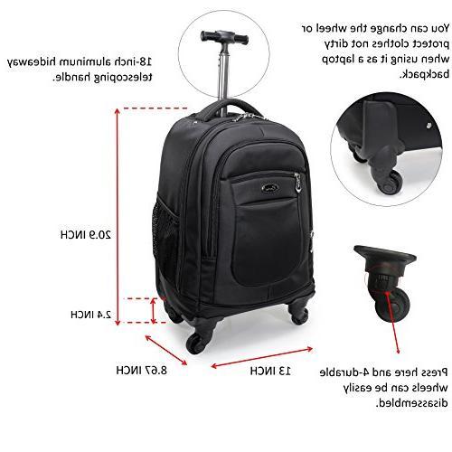 12b1c8b23 Racini Nylon Waterproof Rolling Backpack, Freewheel Travel School