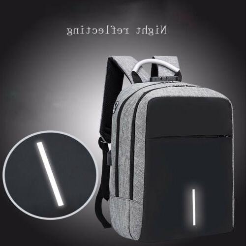 Anti-Theft Backpack USB Charging Port & Cable Laptop School