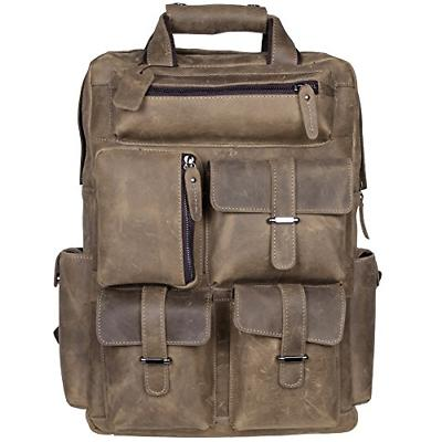 S-ZONE Vintage Crazy Horse Genuine Leather Backpack Multi Po