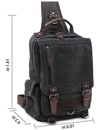 Mygreen Sling Men and Women Shoulder Single Backpacks Canvas Messenger Sling Bag for Travel, School, Outdoor Sport