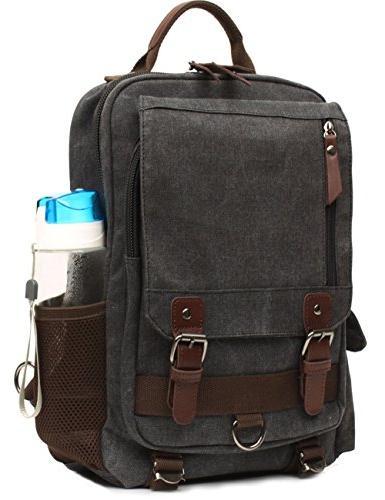Mygreen Sling Shoulder Single Canvas Laptop Messenger Pack for Travel, School, Sport