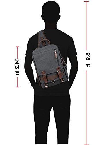Mygreen Backpack for Men and Women Shoulder Single Strap Backpacks Canvas Cross Body Messenger Bag Pack for School, Sport