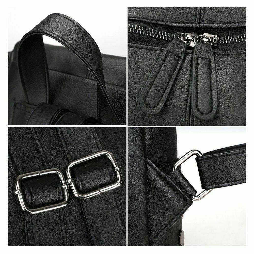 Solid Backpacks Women's Handbags Shoulder Strap Rivet Zipper