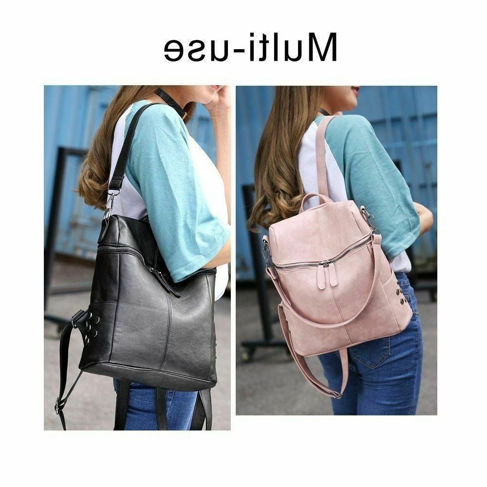 Solid Backpacks Women's Handbags Shoulder Strap Rivet Zipper Closure