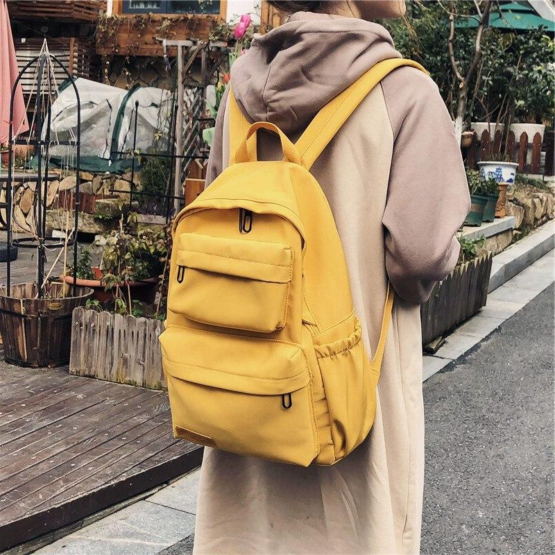 HOCODO Solid Color <font><b>Backpack</b></font> For Nylon Travel <font><b>Backpacks</b></font> Large Capacity Bag