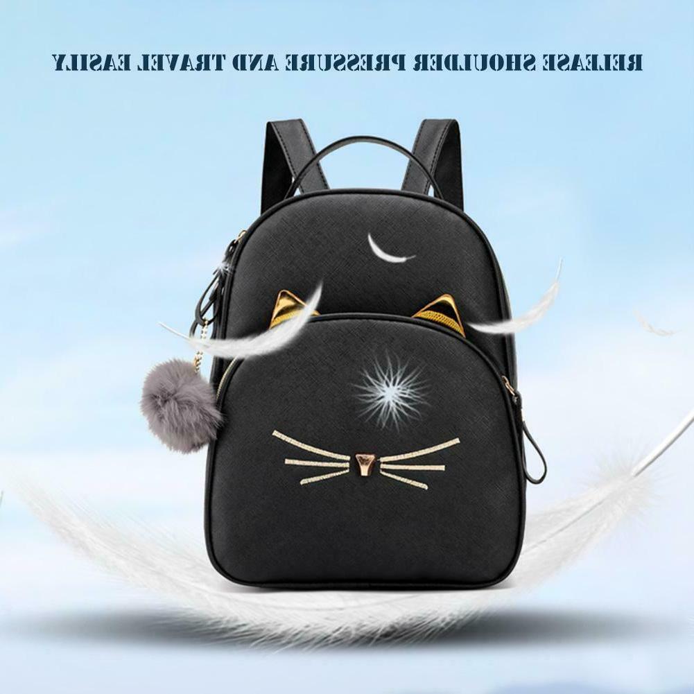 Teenagers Backpack PU Leather School Cat
