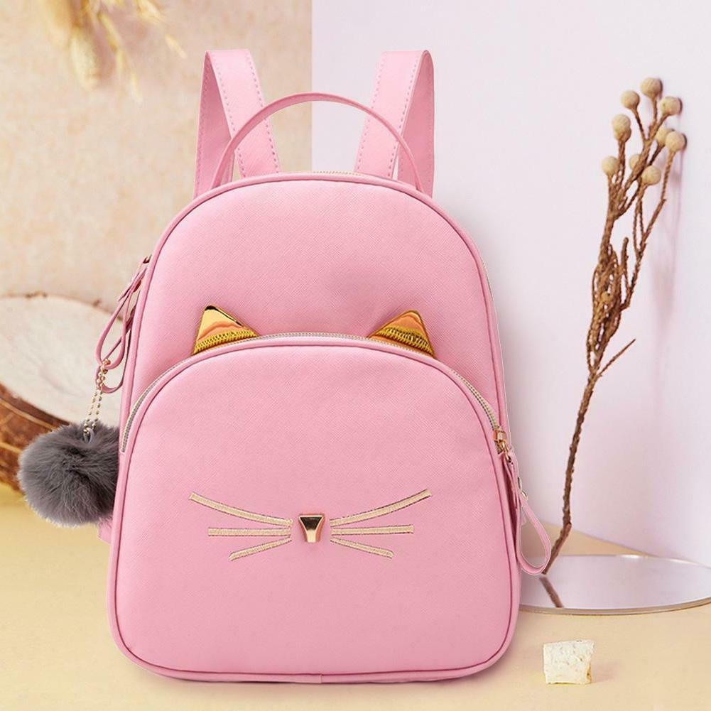 Teenagers Backpack PU School Bags Cat Square Satchel H2