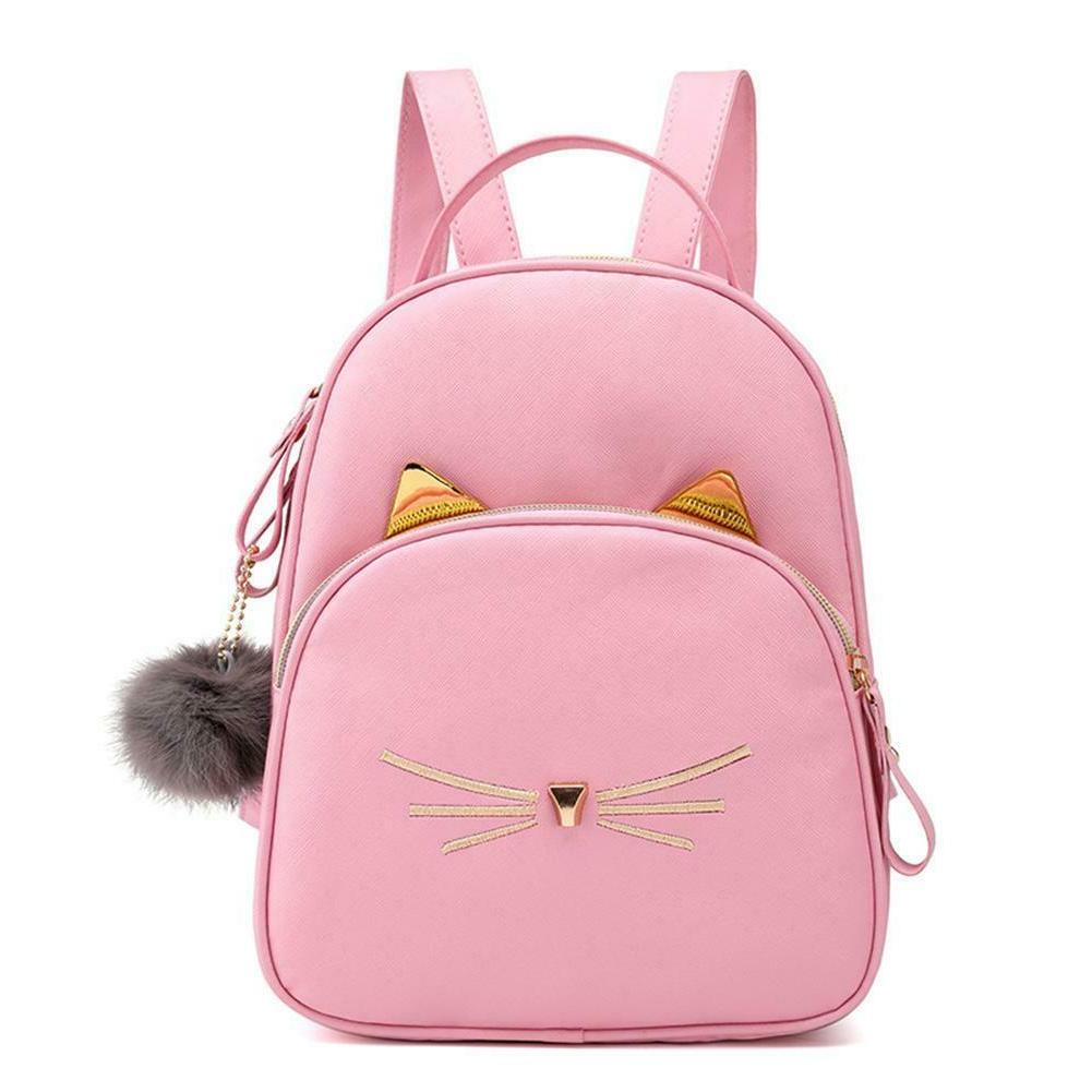 Teenagers Backpack PU School Bags Girl Cat H2