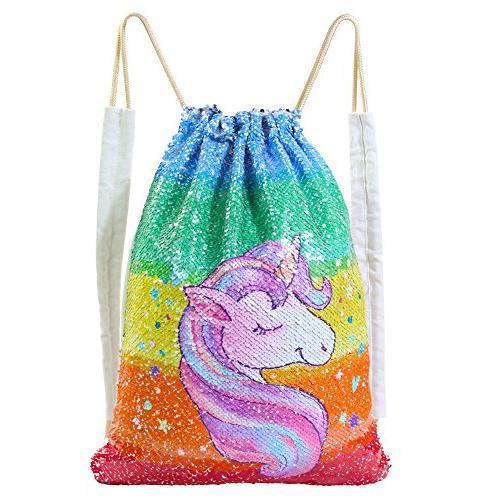 Basumee Unicorn Mermaid Sequin Bag Gym Bags Reversible Sequi