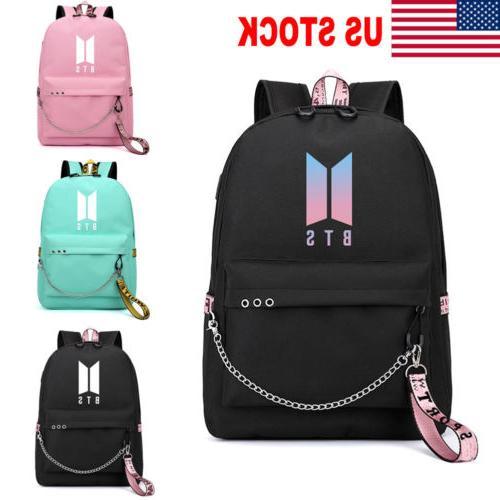 US Backpack BTS Bangtan BookTravel Shoulder with USB M