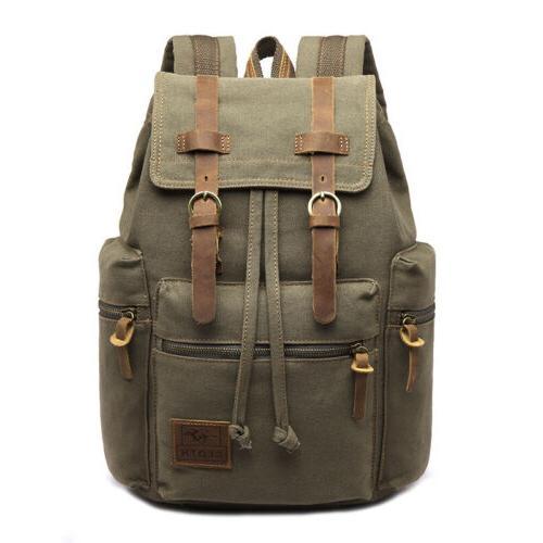 US Women Canvas Backpack School Book Teenage Travel Hiking Bag