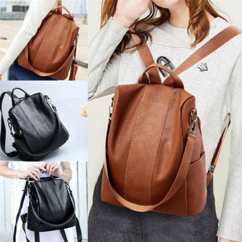 US Women's Leather Anti-Theft School Shoulder Bag Black/Brown