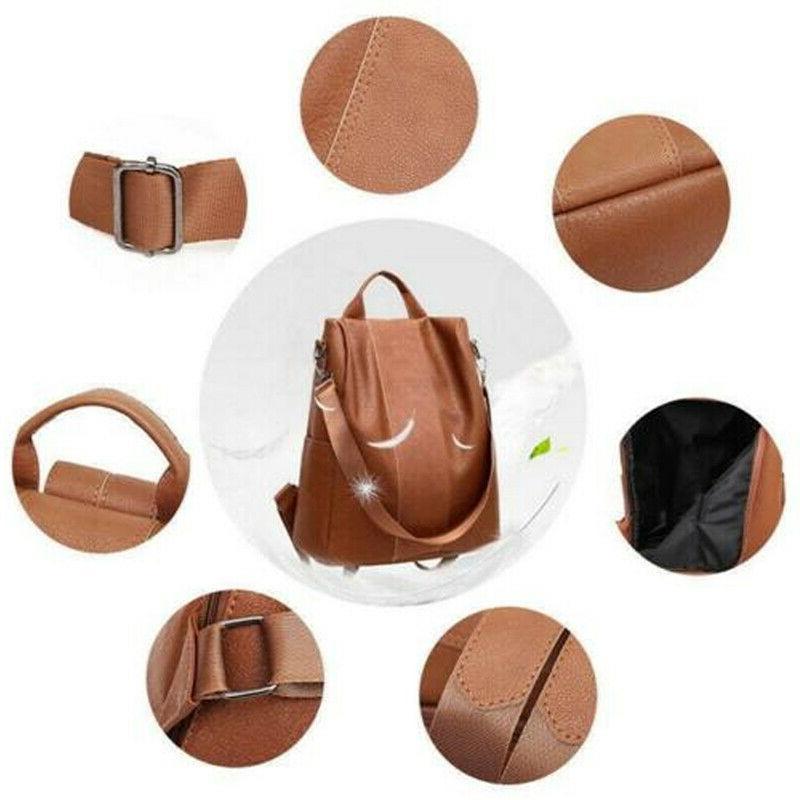 US Leather Anti-Theft Rucksack Bag Black/Brown