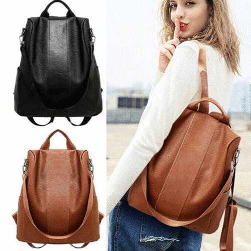 us womens leather backpack anti theft rucksack